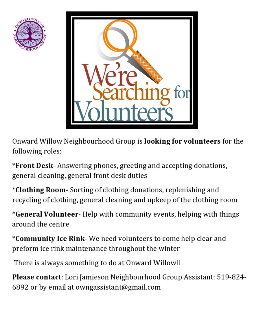 Volunteers Needed Onward Willow Ng And Community Centre
